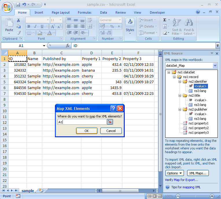 A screenshot of Microsoft Excel 2007 showing XML mapping.