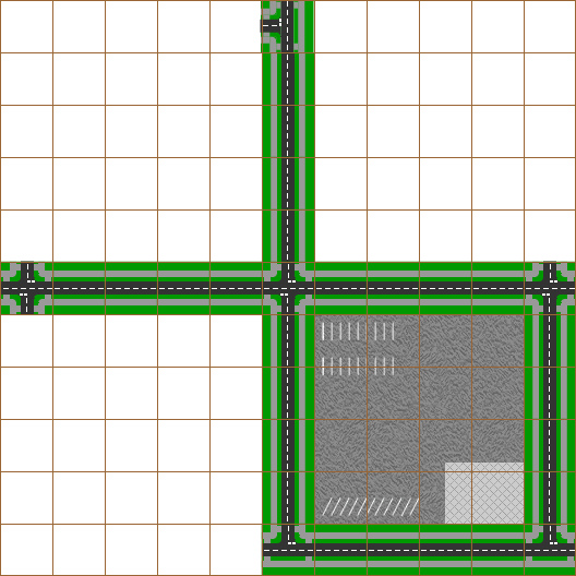 A grid map of road tiles.