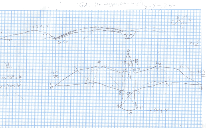 Sketches of a schematic seagull on graph paper.