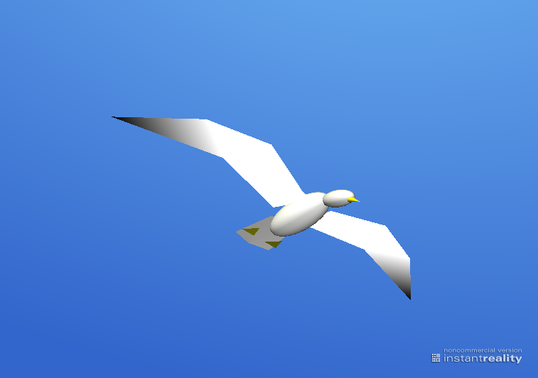 A computer model of a 3D seagull.